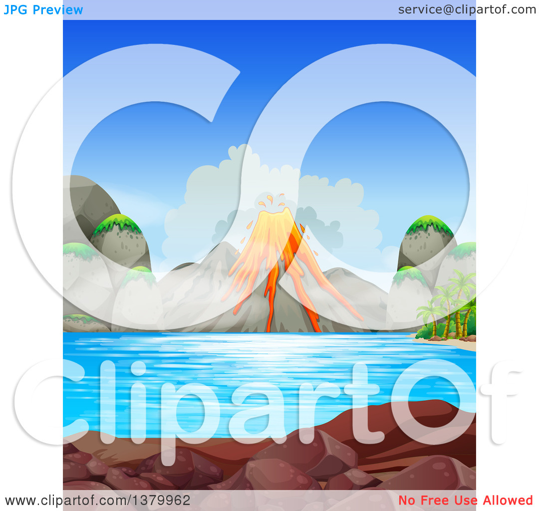 Clipart of a Volcanic Eruption with a Lake in the Foreground.