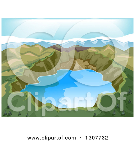 Clipart of a Lake at the Base of Mt Fuji in Japan.