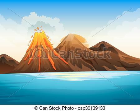 Vectors of Volcano eruption by the lake illustration csp30139133.