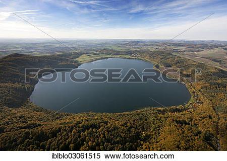"Stock Image of ""Aerial view, Vulkanische Osteifel region, volcanic."