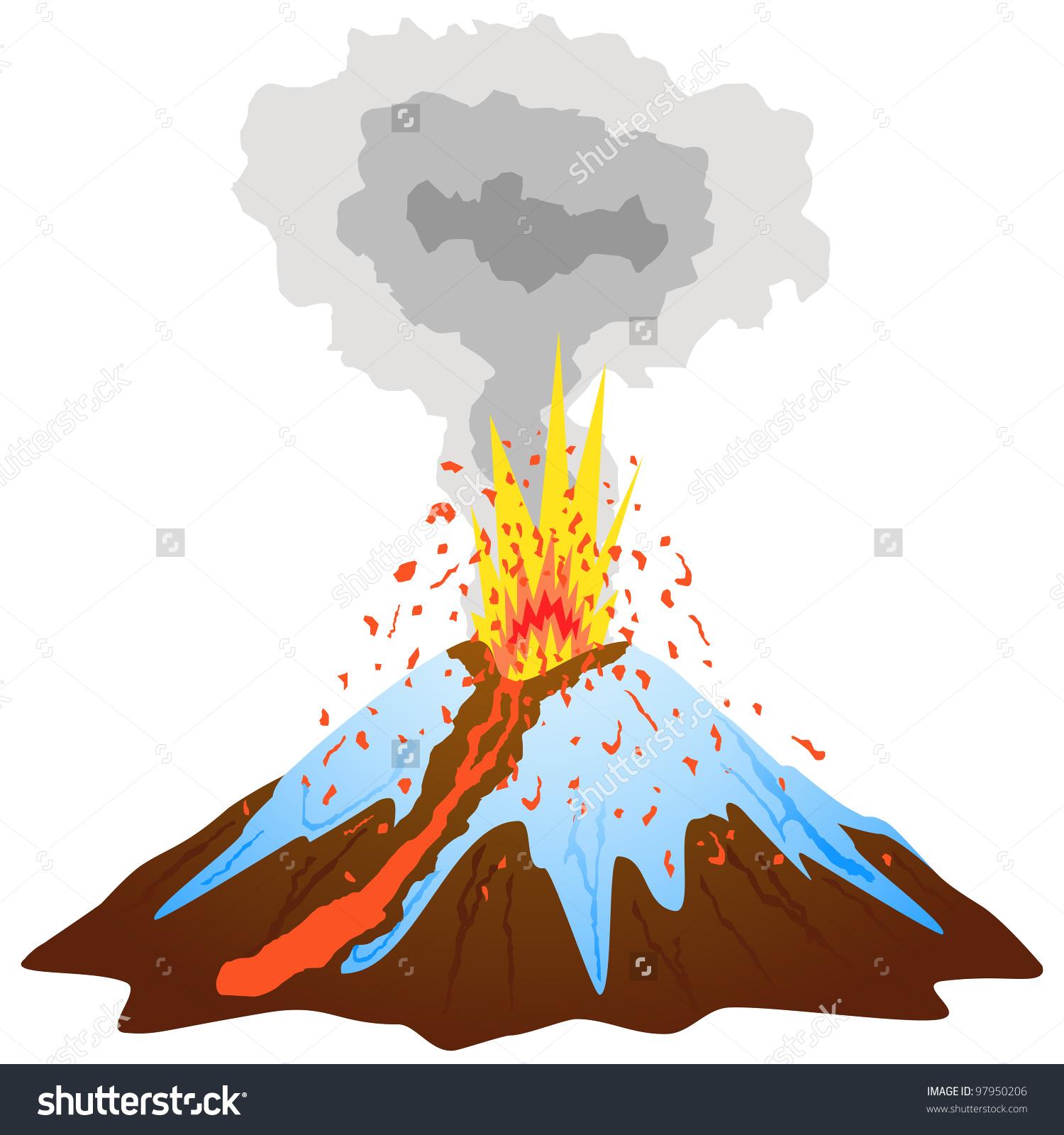 Volcano Mountain Peak Covered Snow Exploding Stock Vector 97950206.