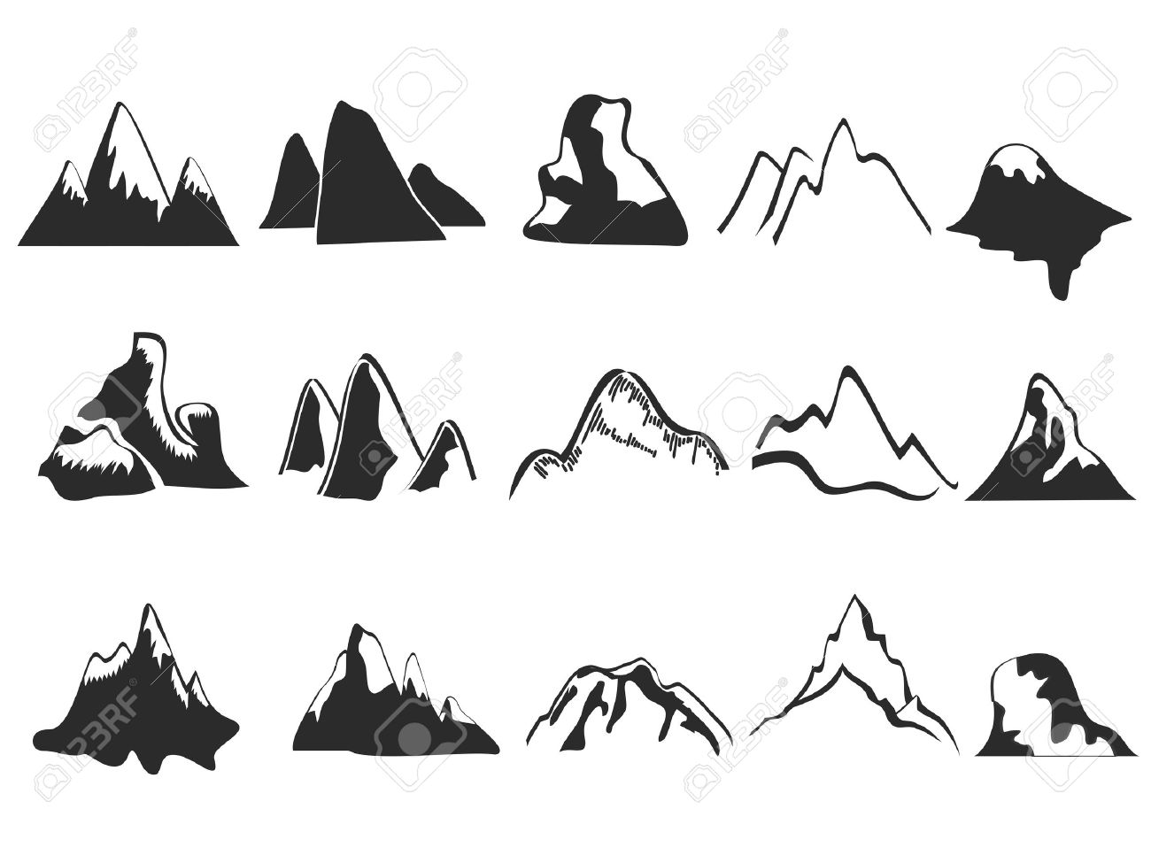 Snowy mountain silhouette clipart.