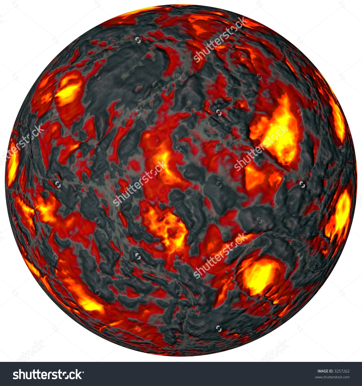 Ball Magma Lava Rock Depth Enhanced Stock Photo 3257262.