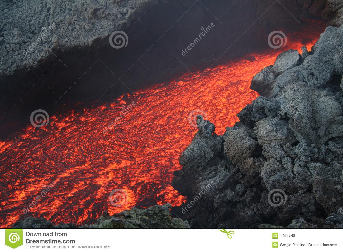 Volcanic Lava Flow Editorial Stock Photo.