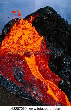 Stock Photograph of Erupting lava, Pu'u 'O'o, Hawaii Volcanoes.
