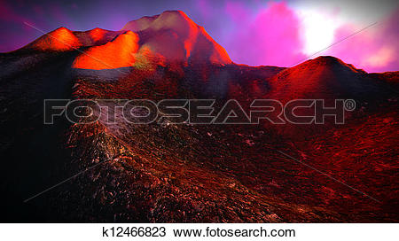 Drawing of Volcanic eruption k12466823.