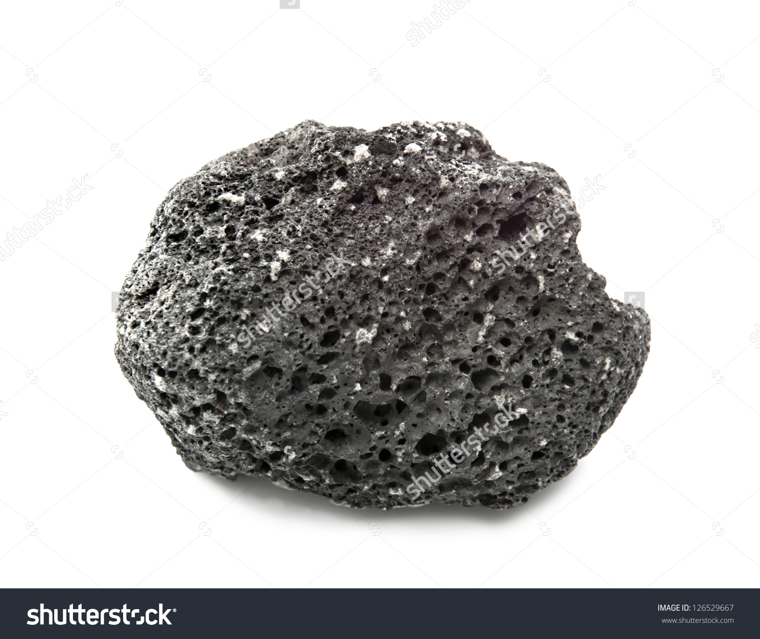 Scoria Volcanic Rock Isolated On White Stock Photo 126529667.