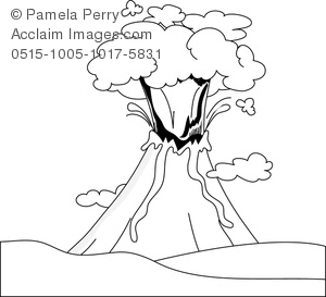 Clip Art Image of an Erupting Volcano Line Drawing.