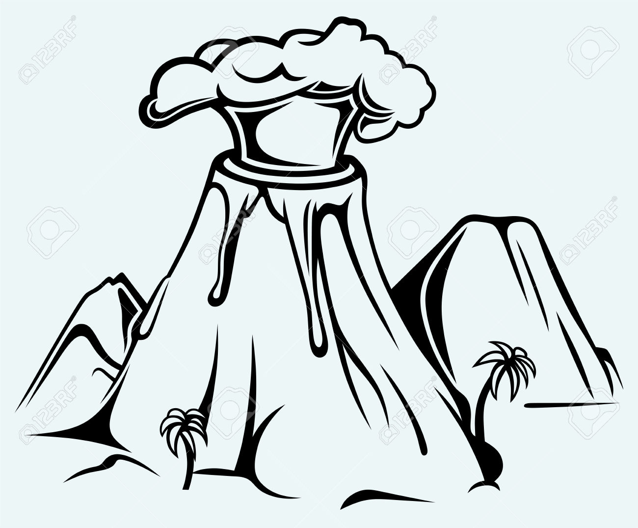 Line Drawing Volcano : Volcano black and white clipart clipground