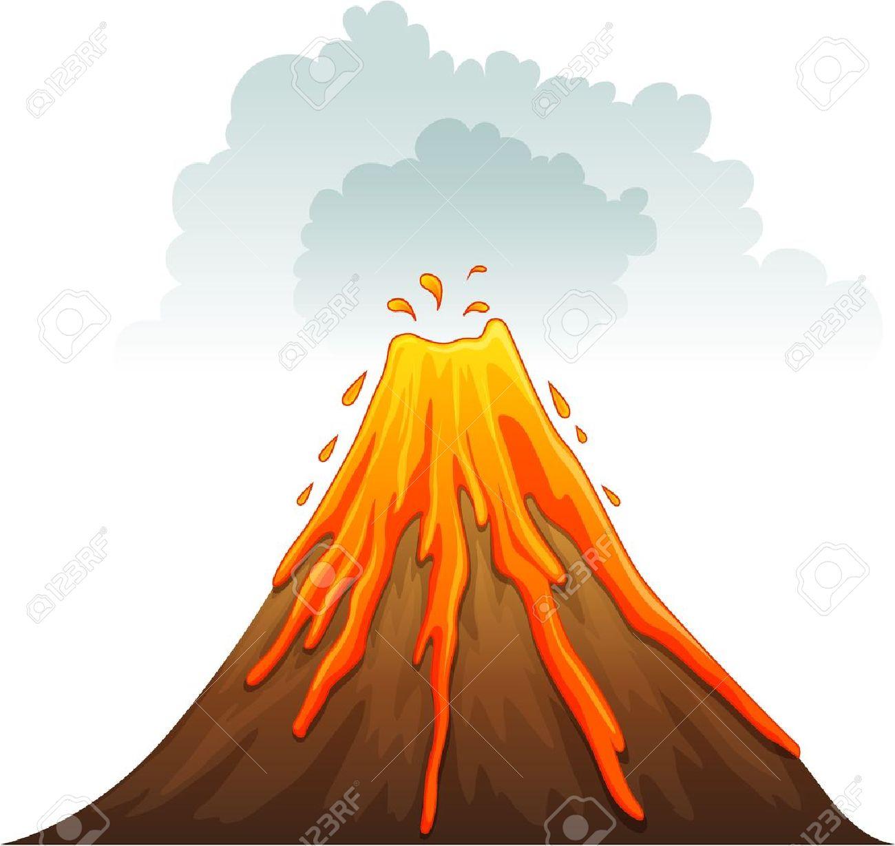 Clipart Volcano Erupting.