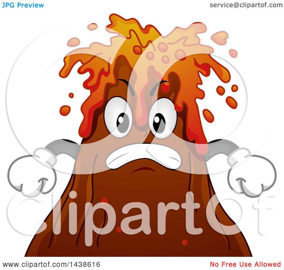 Clipart of a Furious Volcano Mascot Spewing Lava.