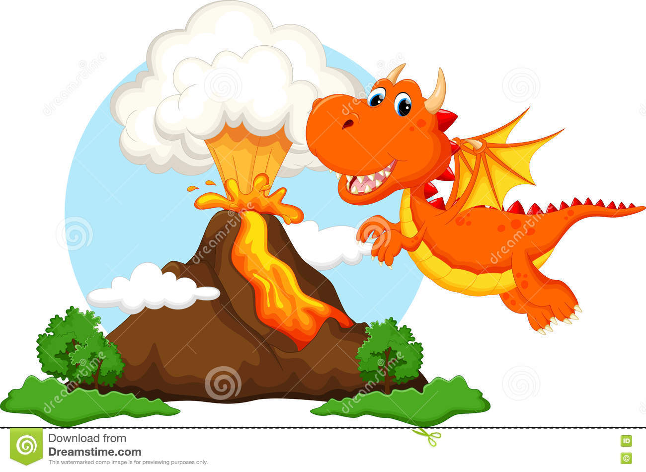 Cute Dragon Cartoon With Volcano Background Stock Illustration.