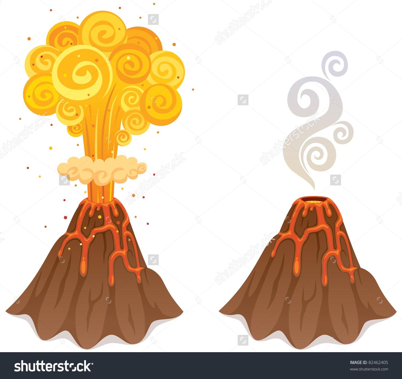 Cartoon Illustration Volcano 2 Versions Stock Vector 82462405.