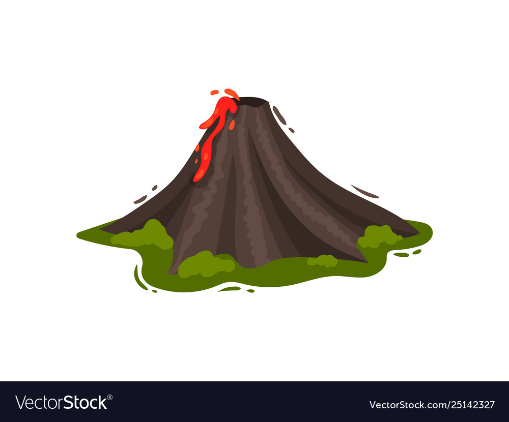 Volcanic eruption on a green meadow.