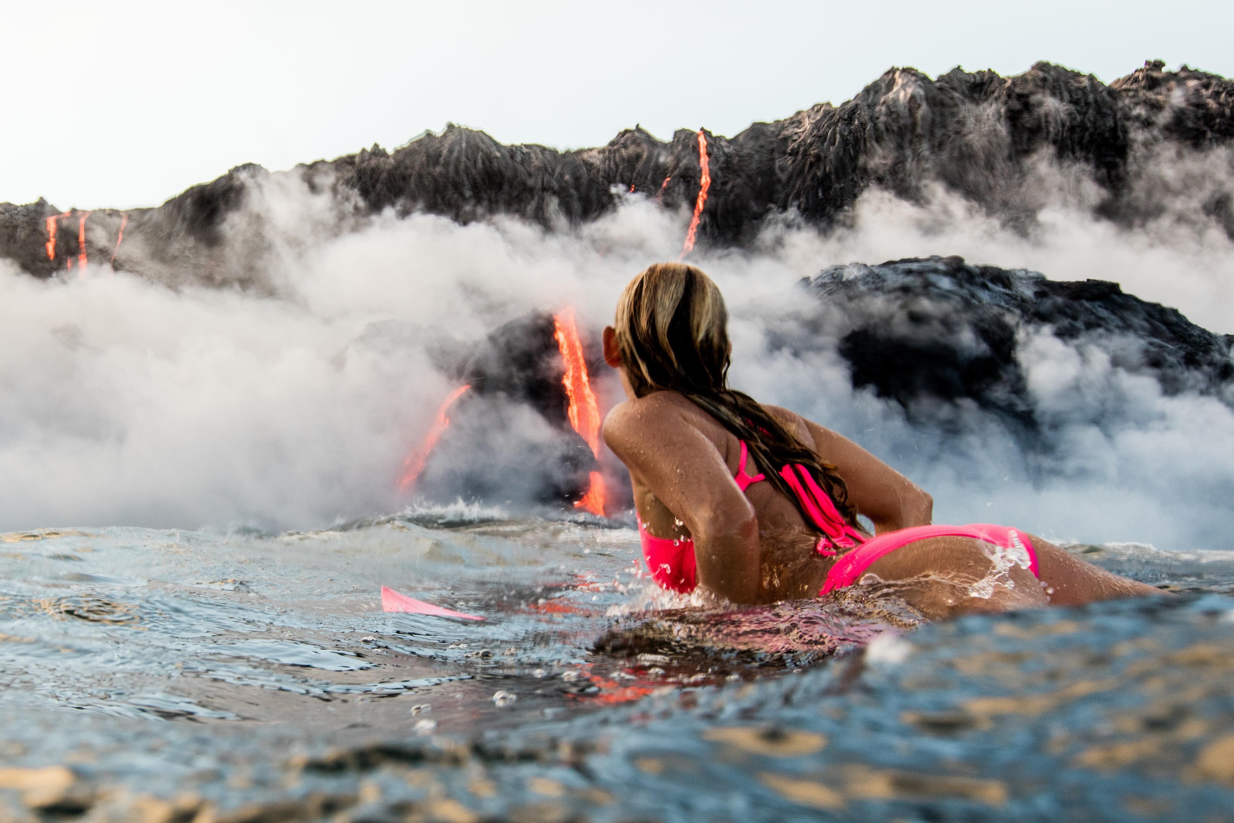 Alison Teal Tries Surfing Hawaii Volcano Eruption.