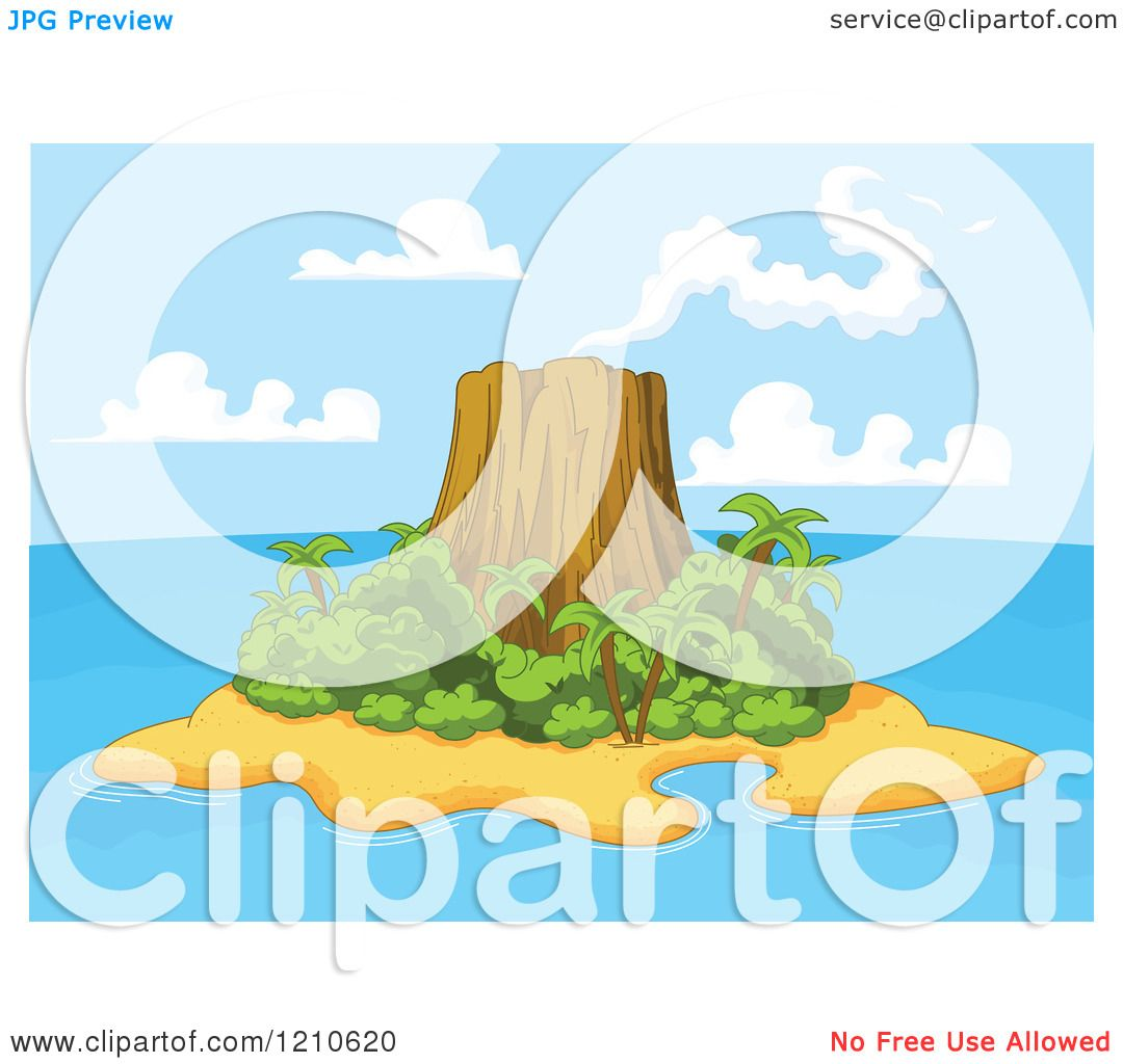 Clipart of a Tropical Volcanic Island.