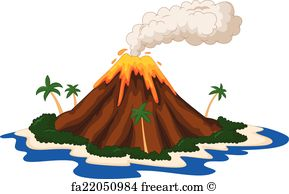 Free art print of Volcano island. Volcano on an island with smoke.