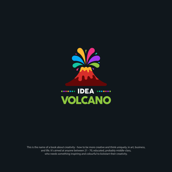 Make a colourful volcano logo for a creativity book by The.