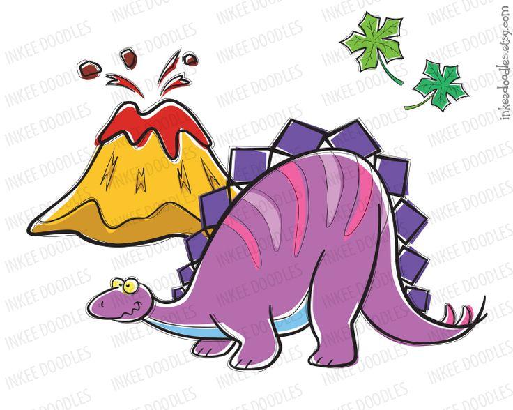 Dinosaur Birthday Teacher School Supply Kids Stegosaurus Volcano.