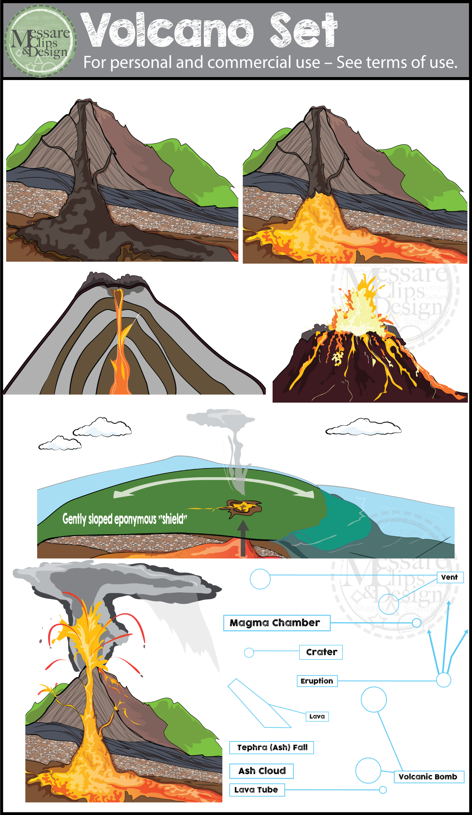 Volcano more clipart #11