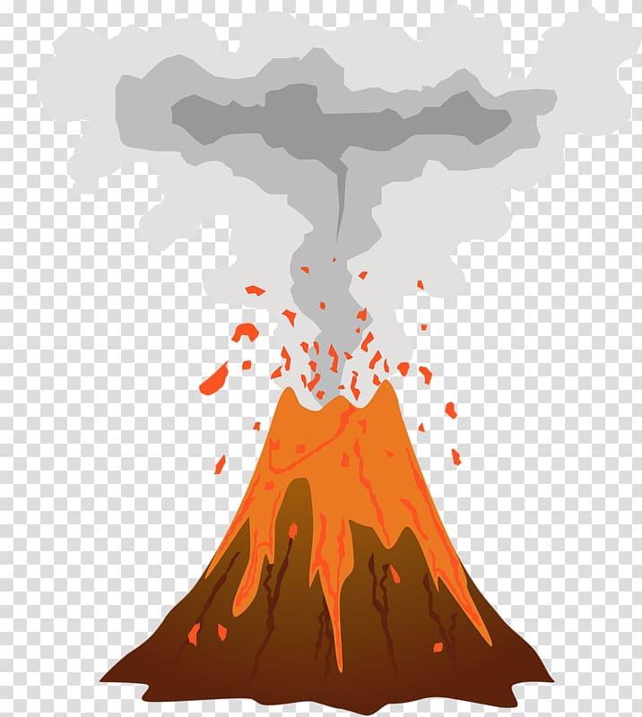 Exploding volcano illustration, Mount Etna Volcano Mountain.