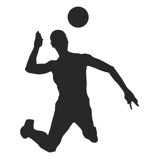 Volleyball attack silhouette.