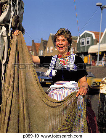 Picture of Holland, Volendam, Women in Dutch Costume djh49887.