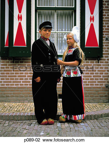 Stock Photo of Holland, Volendam, two Dutch children in.