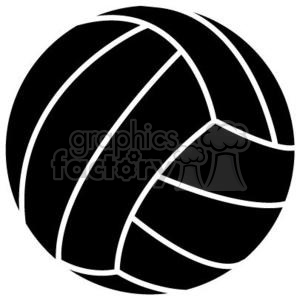 black volleyball clipart. Royalty.
