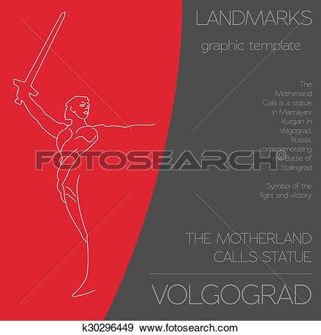 Clip Art of World landmarks. Volgograd. Russia. k30296449.