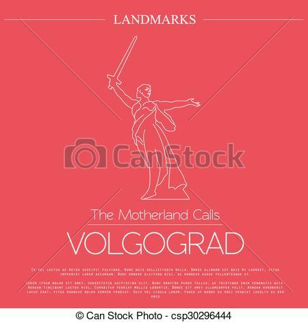 EPS Vector of World landmarks. Volgograd. Russia. The Motherland.