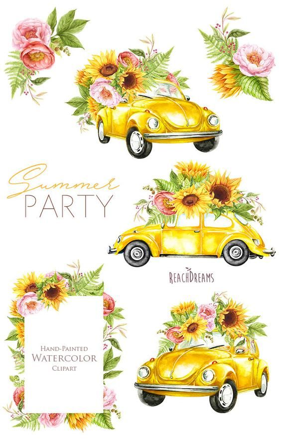Watercolor Yellow VW Beetle, summer clipart, sunflowers.