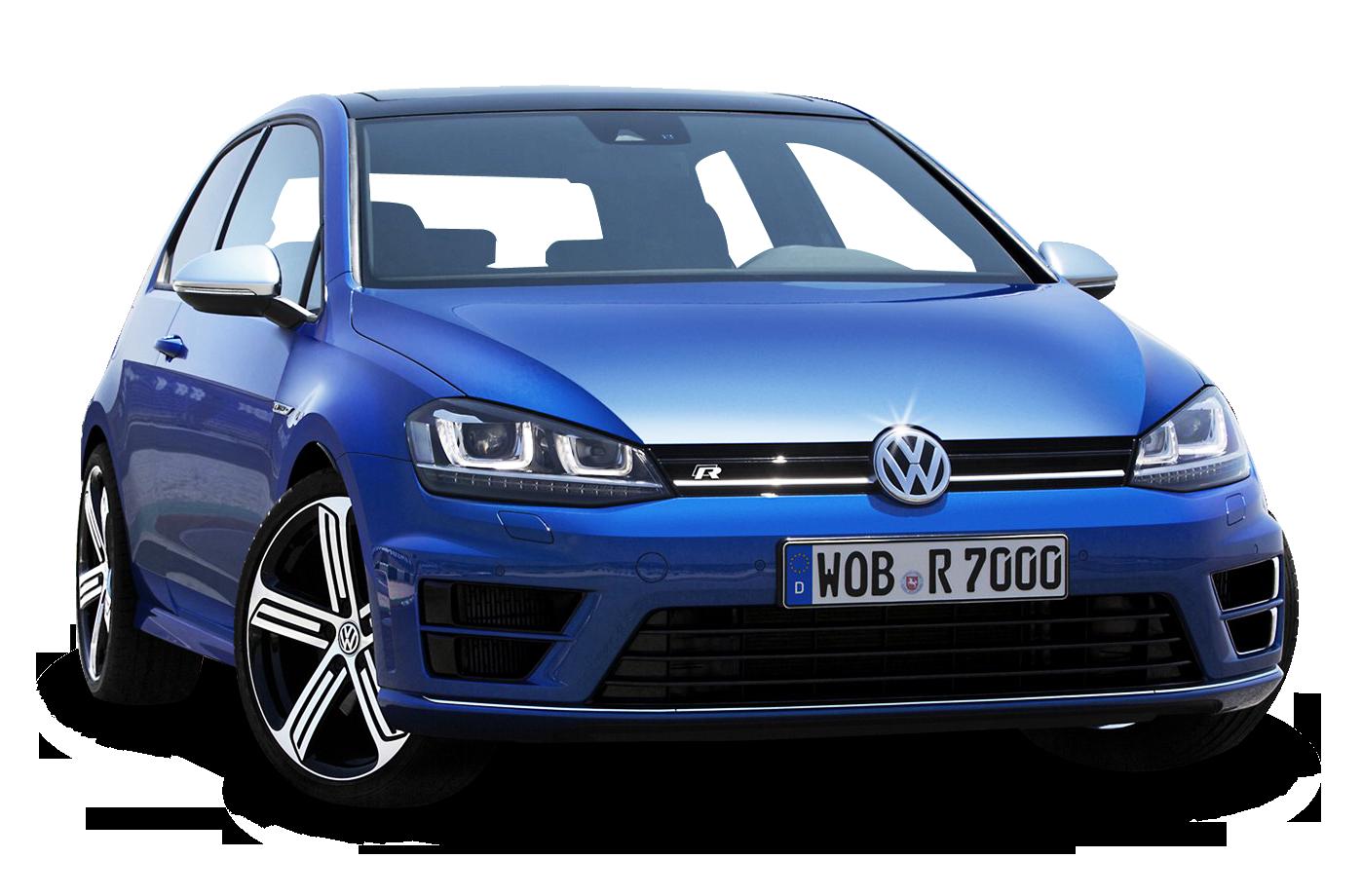 Volkswagen Golf Blue Car PNG Image.