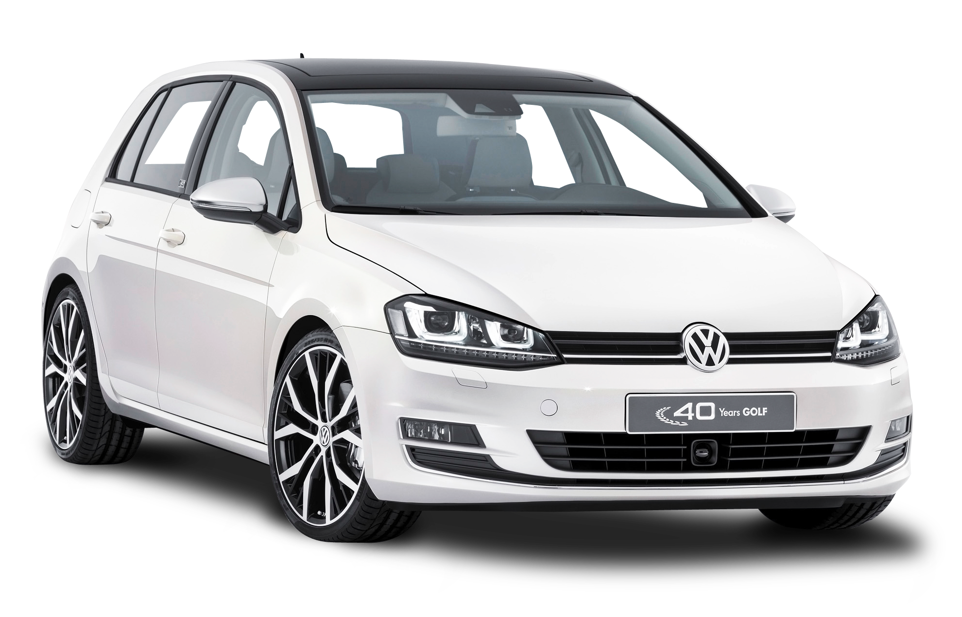 White Volkswagen Golf Car PNG Image.