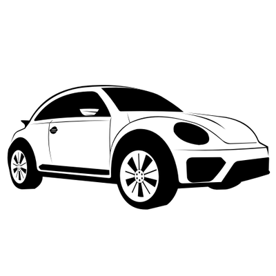 Hand Traced Black & White Volkswagen Dune Sketch Clipart Picture.
