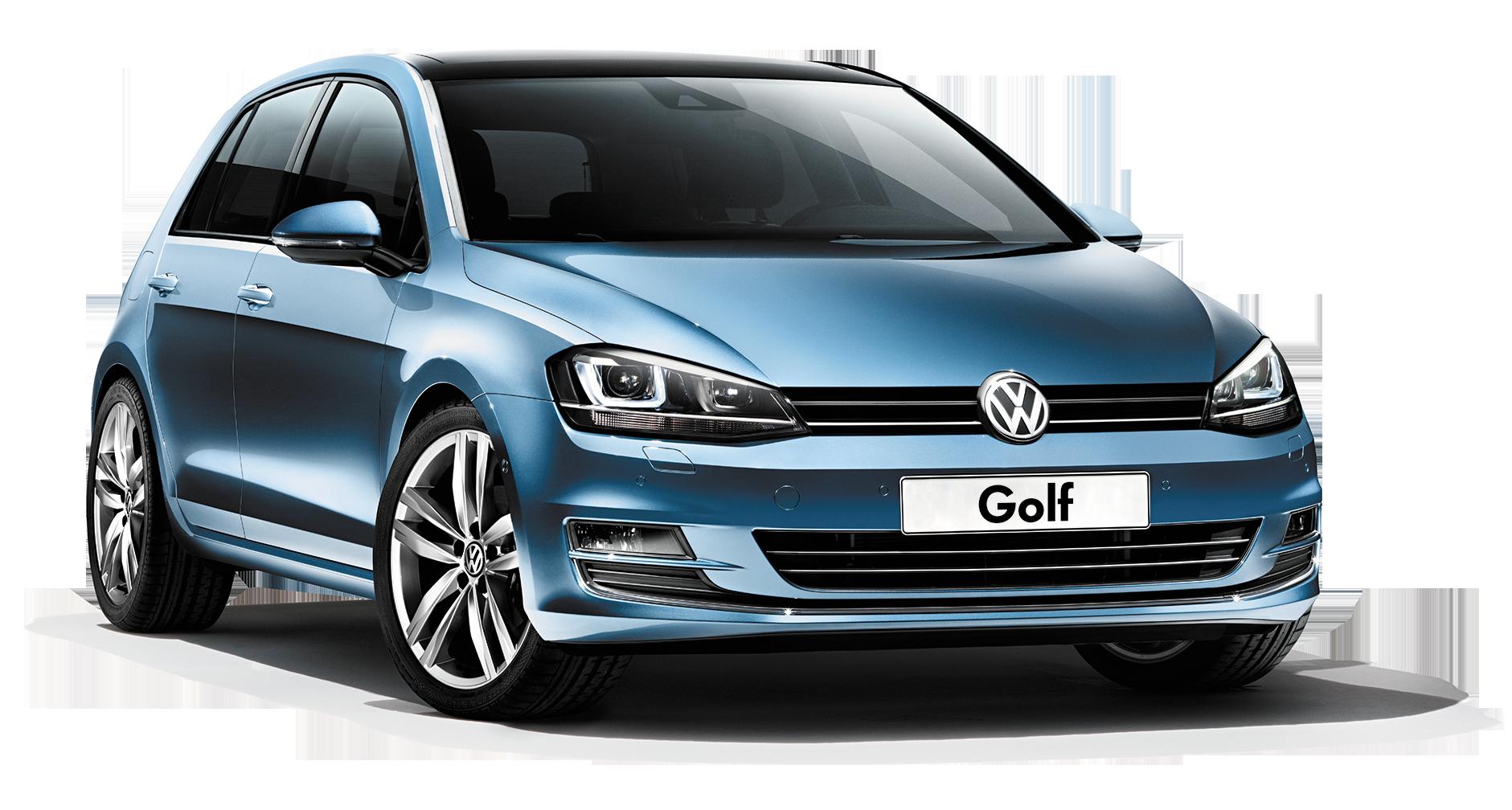 blue Volkswagen Golf PNG car image.