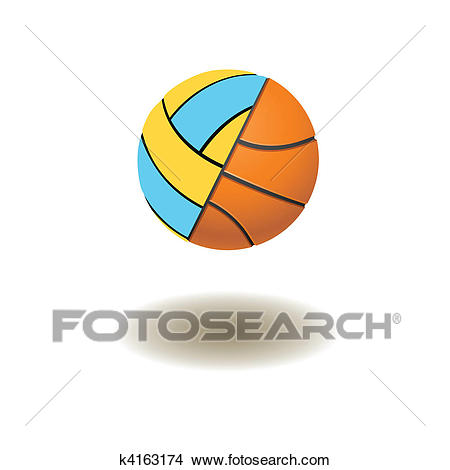 Volleyball and basketball balls Clipart.
