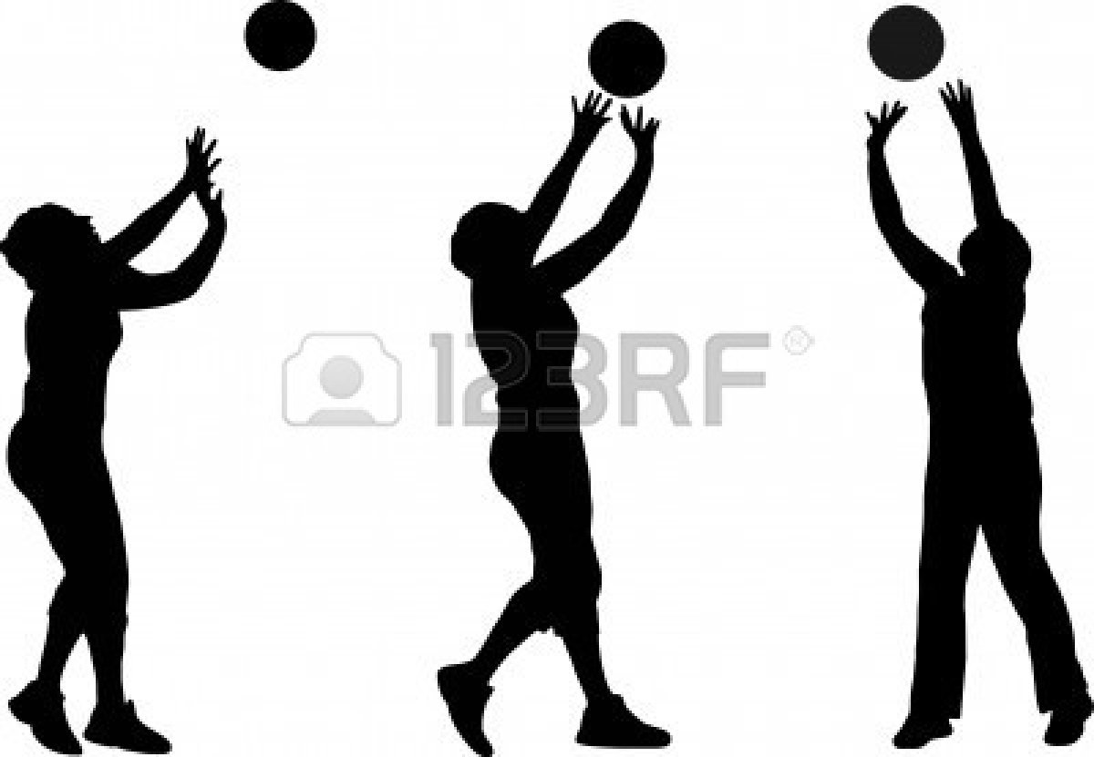 Volleyball Player Spike Silhouette.