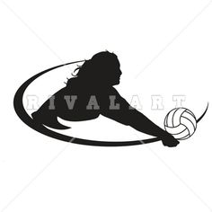 Sports Clipart Image of Girls Beach Volleyball Player Spiking.