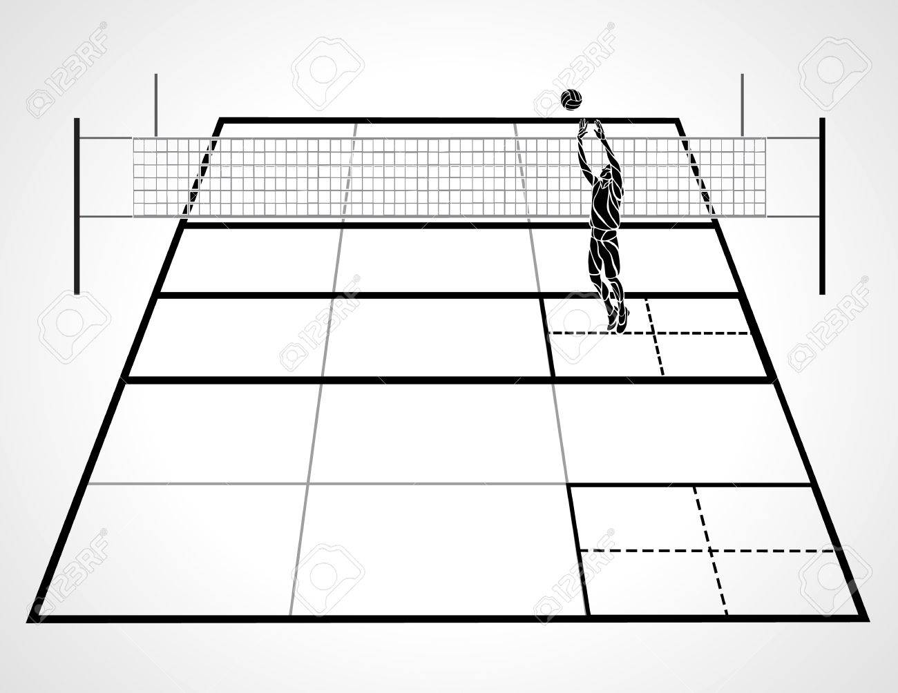 Volleyball court with perspective, setter player and ball.