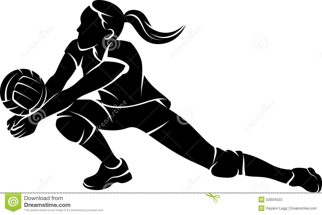 Female Volleyball Player Silhouette.