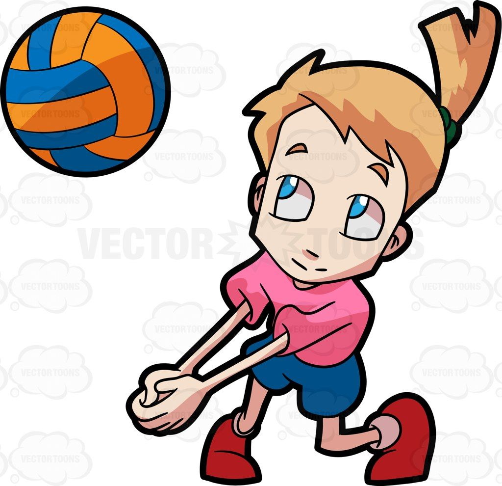 A girl playing volleyball #cartoon #clipart #vector.