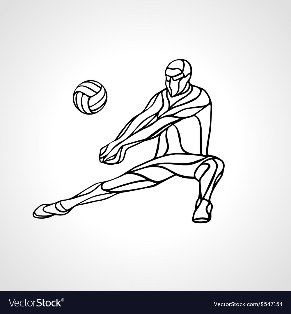 Volleyball player outline silhouette.