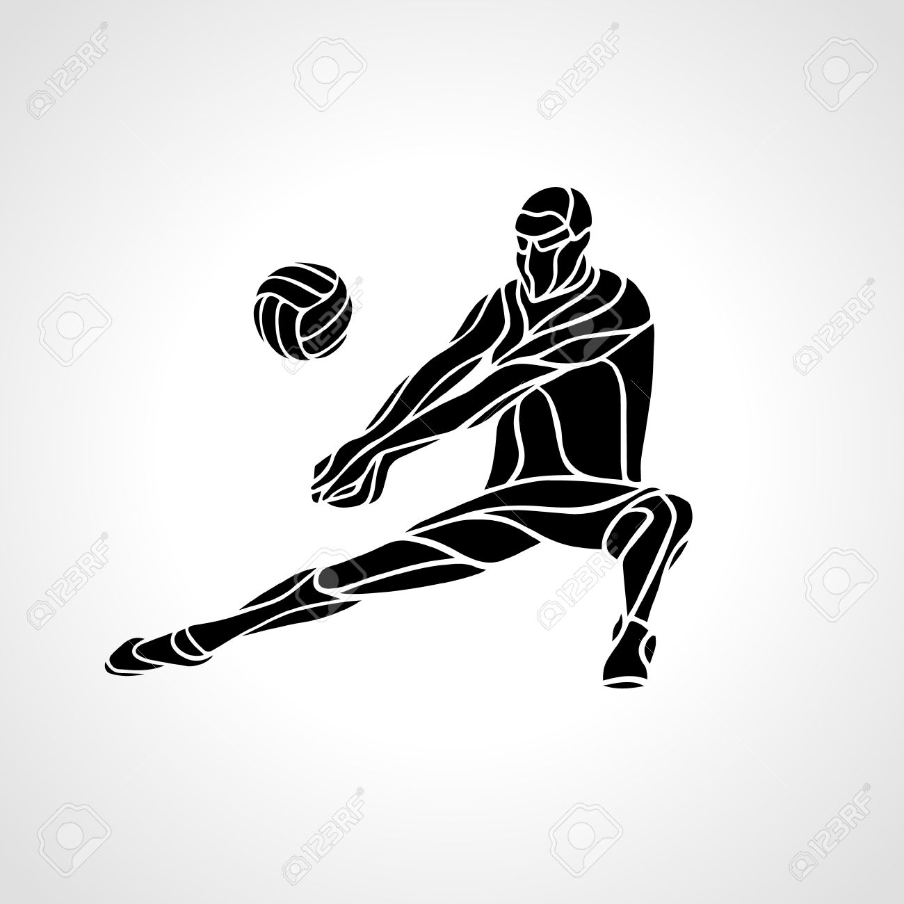 Volleyball player receiving feed. Silhouette of a abstract volleyball...