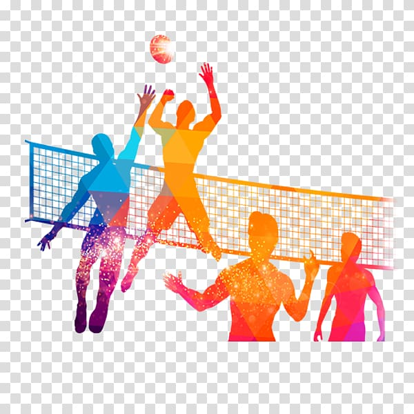 Multicolored volleyball game silhouette, People volleyball.