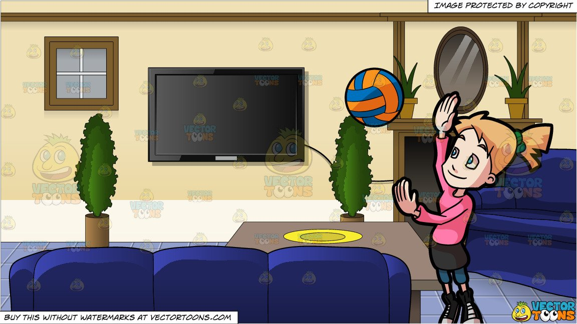 A Preadolescent Female Playing Volleyball and Inside A Family Room  Background.