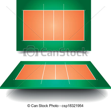 Clipart Vector of volleyball court.