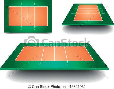 Clip Art Vector of volleyball court set.