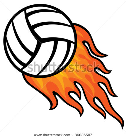 Volleyball On Fire Clipart.