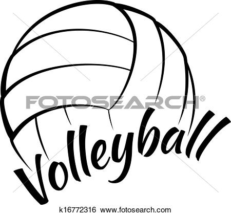 Clip Art of Volleyball with Fun Text k16772316.